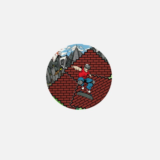 blockcraft city skater Mini Button