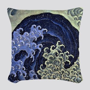 The Feminine Wave by Hokusai Woven Throw Pillow