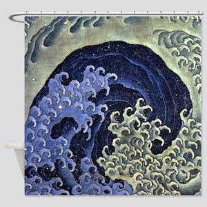The Feminine Wave by Hokusai Shower Curtain