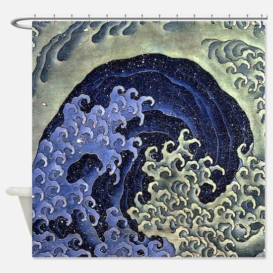 The Feminine Wave by Hokusai Shower Curtain