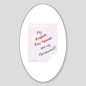Toy Spaniel Homework Oval Sticker