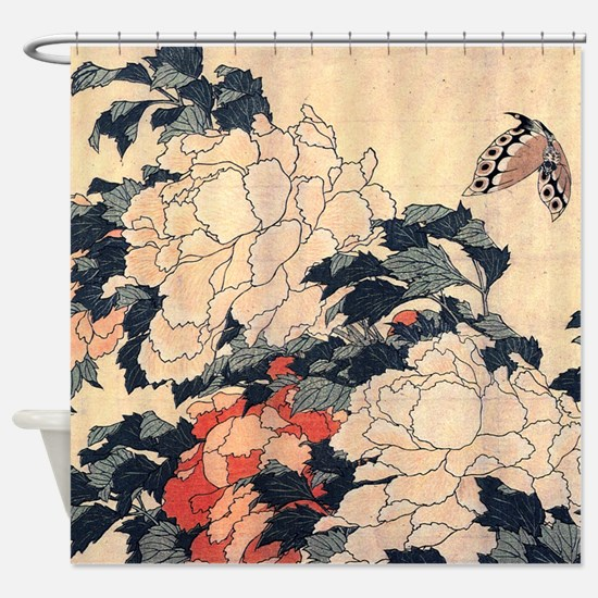 Poenies and butterfly by Hokusai Shower Curtain