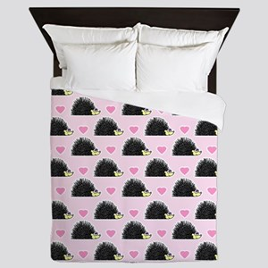Cute Happy Hedgehog Pattern Pink Queen Duvet