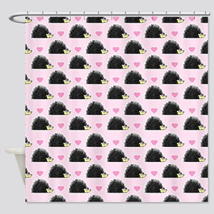 Cute Happy Hedgehog Pattern Pink Shower Curtain