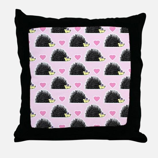 Cute Happy Hedgehog Love Pattern in Pink Throw Pil