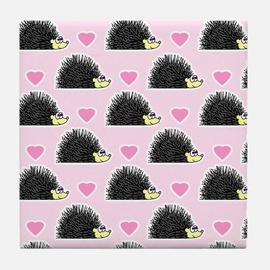 Cute Happy Hedgehog Love Pattern in Pink Tile Coas