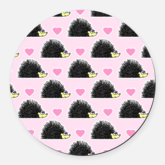Cute Happy Hedgehog Love Pattern in Pink Round Car