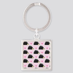 Cute Happy Hedgehog Love Pattern in Pink Keychains