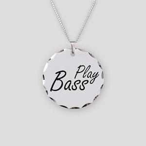 play bass black text guitar Necklace