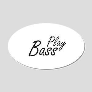 play bass black text guitar Wall Decal
