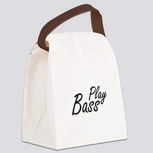play bass black text guitar Canvas Lunch Bag