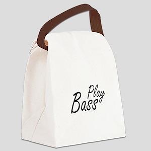 play bass black text guitar Canvas Lunch Bag