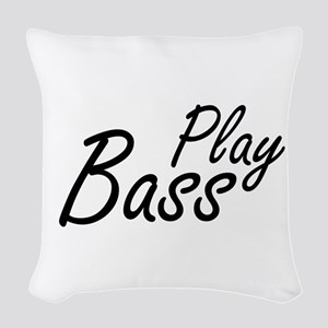 play bass black text guitar Woven Throw Pillow