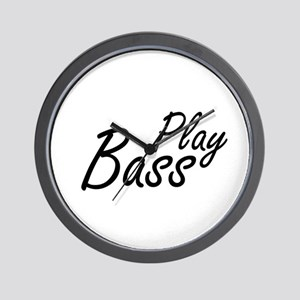 play bass black text guitar Wall Clock