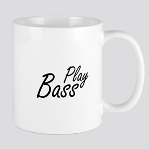 play bass black text guitar Mugs