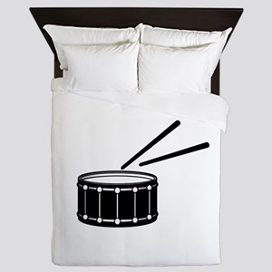 black snare graphic with sticks Queen Duvet