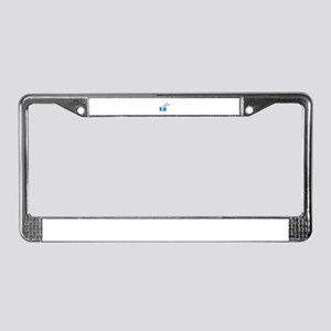 blue snare graphic with sticks License Plate Frame