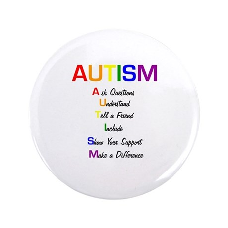 """Autism Ask Questions 3.5"""" Button (100 pack)"""