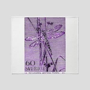 Vintage 1979 Sweden Dragonfly Postage Stamp Throw