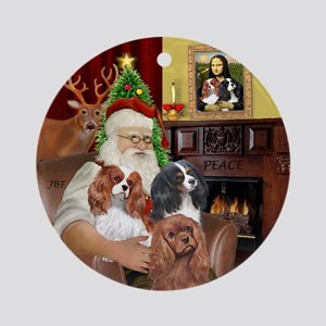 Santa's three Cavaliers Ornament (Round)