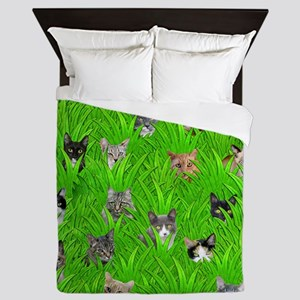 Cats in Grass Queen Duvet