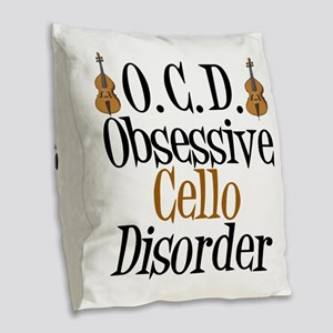 Funny Cello Burlap Throw Pillow