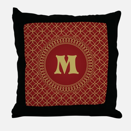 Personalized Red and Gold Filigree Patterned Throw