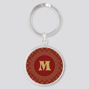 Personalized Red and Gold Filigree Patterned Keych