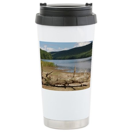 Lake view with driftwood Stainless Steel Travel Mu