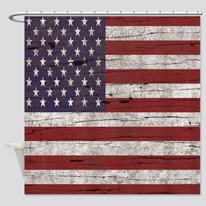 Cracked American Flag Shower Curtain