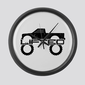 Lifted Pickup Truck Large Wall Clock