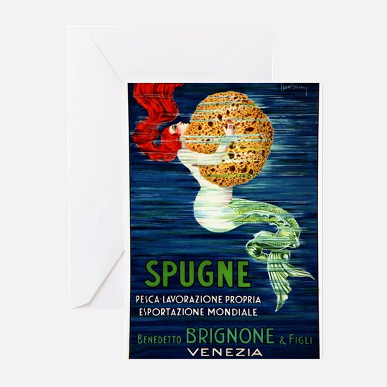1920 Italian Mermaid & Sponge Advertising Poster G