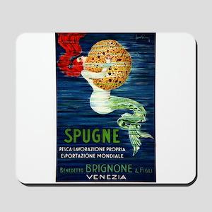1920 Italian Mermaid & Sponge Advertising Poster M