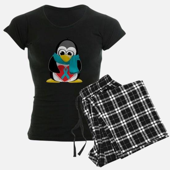 Teal-Ribbon-Penguin-Scarf Pajamas