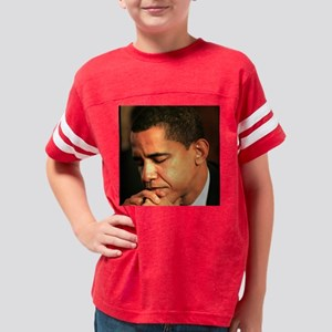 2-OBAMA PRAYING 16x16 Youth Football Shirt