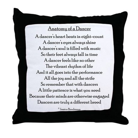 Anatomy of a Dancer Throw Pillow