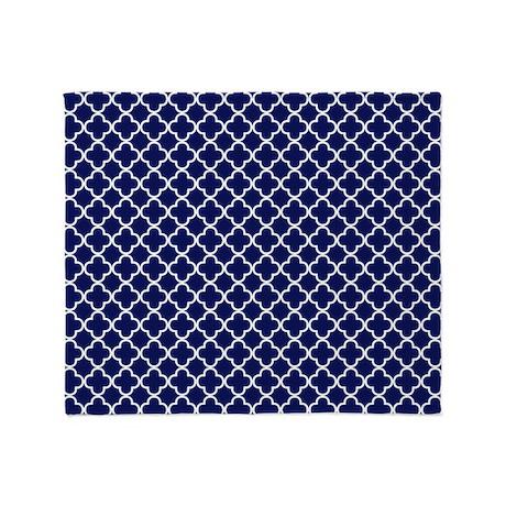 Navy Blue Quatrefoil Pattern Throw Blanket by Admin_CP7046391