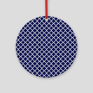Navy Blue Quatrefoil Pattern Round Ornament