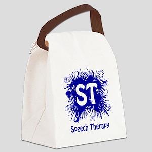 Speech Splash - blue Canvas Lunch Bag