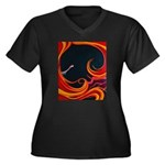 Sensual Ecstasy Women's Plus Size V-Neck Dark T-Sh