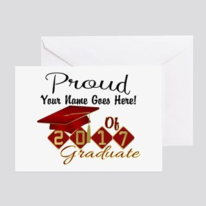 Proud 2017 Graduate Red Greeting Cards