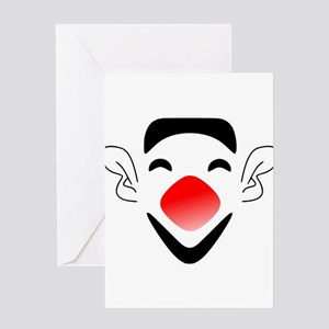 Big Red Nose Clown Face Greeting Cards
