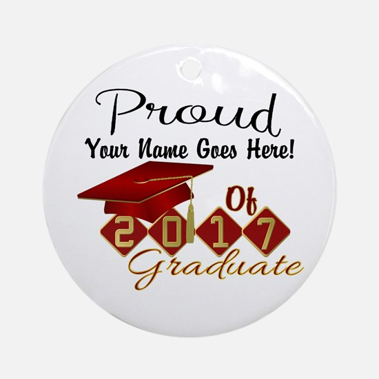 Proud 2017 Graduate Red Round Ornament