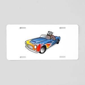 Cartoon Dog Driving Sports Car Aluminum License Pl