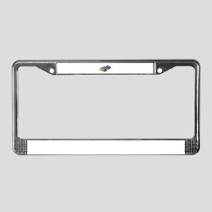 Cartoon Dog Driving Sports Car License Plate Frame