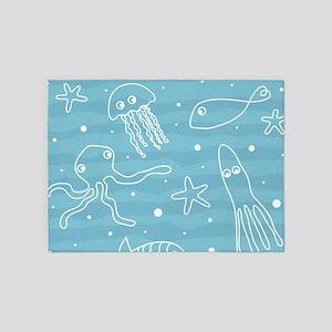 Cute Sea Life 5'x7'Area Rug