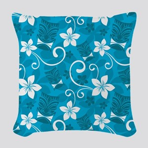 Tropical Floral Tiki Turquoise Woven Throw Pillow