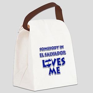 Somebody in El Salvador Loves me Canvas Lunch Bag