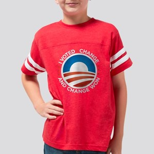 voted4change_round_white Youth Football Shirt