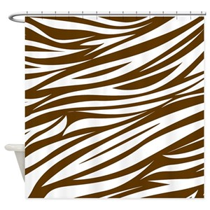 Brown Zebra Print Shower Curtains